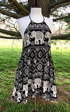 NWT Elephant Print Babydoll Halter Swing Dress black white drapy rayon hi lo  M