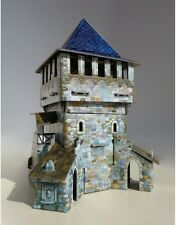 Cardboard model kit. The medieval town. Top tower. Wargame landscape.