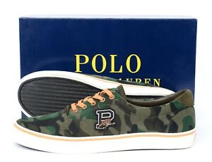 NIB POLO RALPH LAUREN Suede Thorton Green Camo Low Top Sneakers Shoes 11.5 D