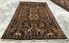 Authentic Hand Knotted Afghan Vintage Zakani Balouch Wool Area Rug 6 x 4 Ft
