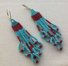 Coral Silver Ethnic & Tribal Earrings