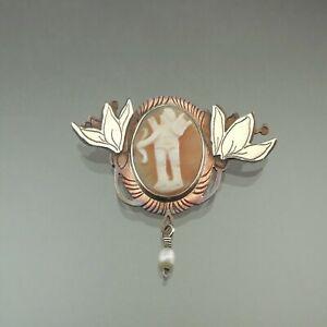 Vintage Handcrafted Brooch Cupid Cameo Artist Pat Garrett Copper Sterling Silver