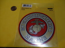 MY GRANDDAUGHTER IS A MARINE ROUND OUTSIDE WINDOW CAR DECAL STICKER  OLD STOCK