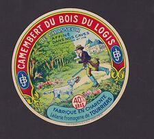Ancienne étiquette fromage France BN21728 Camembert bois Logis Chasseur Chien