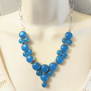 Hand Forged Silver Plated Link Azure Blue Art Glass Statement Necklace