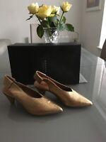 HUDSON Gold Leather Dorothea Slingback Heels size 6UK