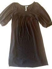 Michael Stars 0 Black Stretch Slinky Dress Square Neck Puffed Sleeves