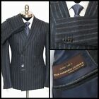 SARTORE Charcoal Striped Super 120s Wool Double Breasted Peak Suit 48 8 38 R NWT