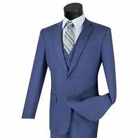 VINCI Men/'s Brown Banker Stripe 3 Piece 3 Button Classic Fit Suit NEW
