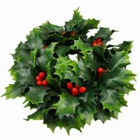 """VTG Holly Leaf & Berry Hurricane Christmas Candle Wreath Holiday 9"""" W Decoration"""