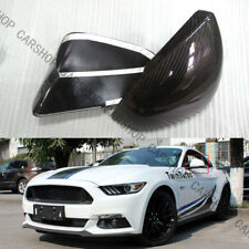 Real Carbon Fiber Side Mirror Cover Cap W LED Signal For Ford Mustang GT 15-20