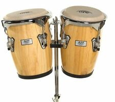 """NEW AM Percussion 9"""" & 10"""" Bongo Conga Combo Set with Stand - NATURAL REAL SKIN"""