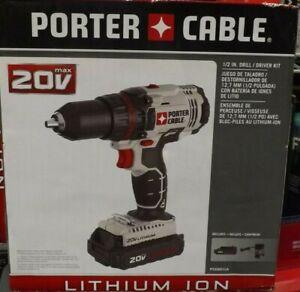 PORTER-CABLE 20V MAX Cordless Drill/Driver Kit, 1/2-Inch PCC601LA BRAND NEW