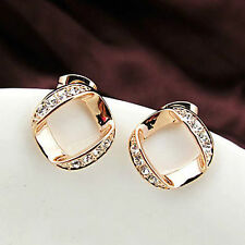 18K Rose Gold Plated Square Hoop Diamond Crystals Earrings