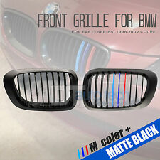 ///M Color BMW 98-02 E46 3-Series 2D Matte Black Front Kidney Grille Grill 2pcs