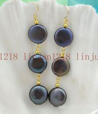 Natural 11-13mm Black  freshwater Coin Pearl Hook Earring