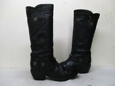 Vic Matie Italy Black Leather Studded Cowboy Boots Womens Size 39 EUR