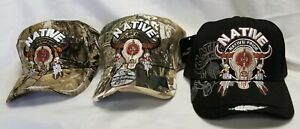 NATIVE PRIDE American Indian Bull Skull Hat with Feathers