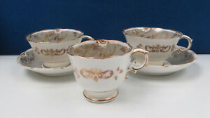 19th Century Antique China Tea Cups (2), Coffee Cup & 2 Saucers - Marked 1617