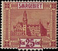 SARRE / SAARGEBIET 1922 Mi.100 PLATTENFEHLER chiffres reliés au cadre** geprüft