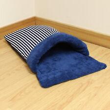 Blue Stripe Fleece Cat/Kitten/Puppy Soft Snug/Warm/Cosy Sleeping Bag Pouch/Bed