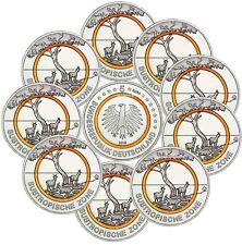 10 x Deutschland 5 Euro Subtropische Zone 2018 Sammlermünze Oranger Polymerring