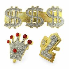 Mens Hip Hop Bling Rapper Gold Gangster Pimp Rings Fancy Dress Costume Accessory