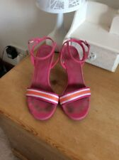 Next UK size 5 Pink White Orange Stripe High Heeled Summer Party Holiday Sandals