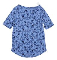 LOFT - Women's L - NWT - Tonal Blue Floral Cotton Elbow Sleeve Tee