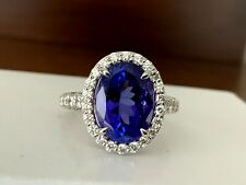 5.72 ct Natural OVAL Violet Tanzanite and Diamond Ring Platinum GIA Certified