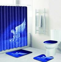 Angel Bathroom Rug Shower Curtain 4pcs Skidproof Toilet Lid Cover Bath Mat Set