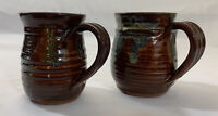 Salt Glazed Pottery Mug Set Hand Crafted Coffee Cup Brown Blue Artist Signed