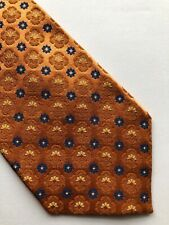 "Jos A Banks Men's Silk Neck Copper Orange Blue Tie  61""L 3.75""W"