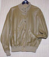 BALLY Italy Leather Reversible Military Khaki Green Women Bomber Jacket Size:12