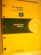 Vintage John Deere Operators Manual -2755 & 2855N Tractors - 1987