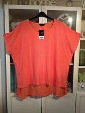 F99 Yours Plus Sz 26/28 Coral Semi Sheer Chiffon Lined Long Top NWT