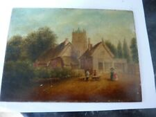 Primative Antique Oil Painting Leamington all saints church  old cottages 1826