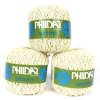 3 Skeins Original Phildar Yarn from France Cotton Knitting Crochet White Cream