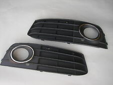 AUDI A4 B8 09-12 FOG GRILLES GRILL WITH CHROME BEZELS LIGHTS LIGHT BUMPER