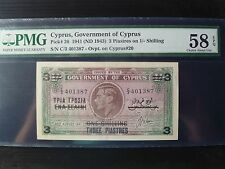 Cyprus Lot P-26 1941 1943 3 Piastres on 1 Shilling PMG AUNC 58 Add Collection