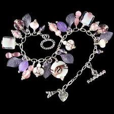 "Silverplated ""Demure"" Murano Lampwork Charm Bracelet"