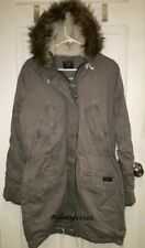 NWT Abercrombie & Fitch SHERPA-LINED TWILL PARKA HOODED FAUX FUR JACKET L Gray