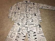 Wall Street Stock Market Business News Paper Two Piece Pajamas Mens XL