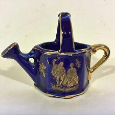 18K GOLD & COBALT BLUE Hand Painted Miniature Porcelain Mini WATERING CAN