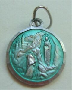 Pretty Vintage Lourdes Medal Blue Enamel