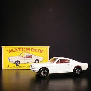 Matchbox RARE Superfast White#8 Ford Mustang In Original #8 Reg Wheel Box VM