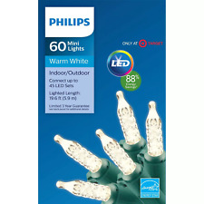 New  Philips 60ct LED Christmas Faceted Mini String Lights Warm White
