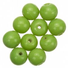 Shiny Medium Green Round Glass Beads 10mm Pack of 10 (A32/6)