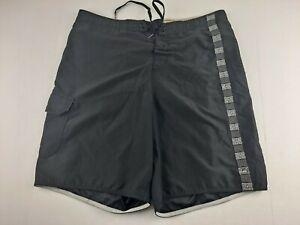 Quiksilver Swim Trunk Shorts Men XL Black (37 X 9) Geometric Strip Outdoor Q