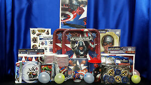 Captain America Party Set # 22 Cups Plates Napkins Tablecloth Invites Thanks ++